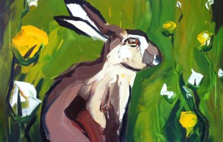 Gemälde mit Hase und Wiese